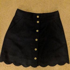 J Crew button up scalloped skirt